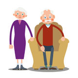 Sitting old man and old woman stand together. An elderly man is sitting in a large armchair, and next to him stands an elderly woman. Illustration in flat style Stock Images