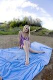 Sitting On Blanket Purple Stock Image