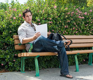 Sitting On Park Bench Royalty Free Stock Image