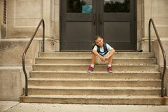 Sitting outside of school Royalty Free Stock Photos