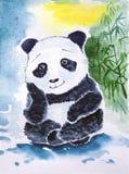 Sitting panda. Cute giant panda watercolor. Dreaming of bamboo Royalty Free Stock Images