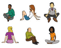 Sitting people Stock Photo