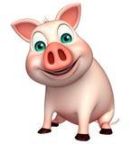 sitting   Pig cartoon character Stock Image