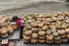 Sitting among a pile of pumpkins on her parents barge. Stock Photos