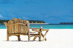 Sitting place and table in a tropical beach Stock Photography