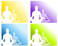 Sitting Position Yoga Meditation 2. A background illustration with your choice of 4 meditating or yoga silhouettes in gold, purple, blue and green Royalty Free Stock Image