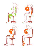 Sitting positions, correct spine posture Royalty Free Stock Photos