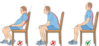 Sitting positions. Vector illustration of proper and improper sitting positions Royalty Free Stock Photography
