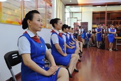 Sitting posture training-Etiquette training Stock Photo