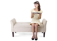 Sitting and Presenting an Empty Tray Royalty Free Stock Photos