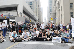Sitting protesters. Stock Images