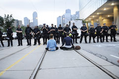 Sitting protesters. Royalty Free Stock Photo