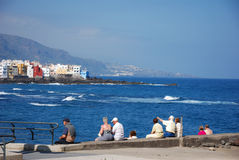 Sitting at the quay. At Puerto Cruz, Tenerife Stock Photo