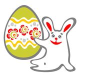 Sitting rabbit and easter egg. Happy sitting bunny and easter egg  isolated on a white background. Easter illustration Royalty Free Stock Photography