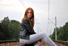 Sitting on a railroad Royalty Free Stock Photography
