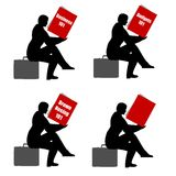 Sitting Reading Book Briefcase Royalty Free Stock Photography