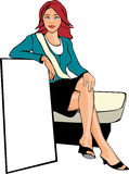 Sitting red head woman Stock Photo