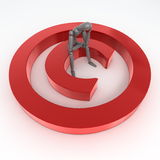 Sitting on a Red Shiny Copyright Symbol Stock Photography
