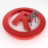 Sitting on a Red Shiny Registered Trademark Symbol. Red shiny and glossy registered trademark sign laying on a white ground - a person in grey is sitting on it Stock Images