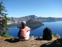 Enjoying the view at Crater Lake National Park royalty free stock photography