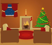 Sitting room. This image was created in Adobe Illustrator. It contains 3 gradients - 1 on the wall, 1 on the floor and 1 on the Christmas tree. However, there Stock Image