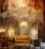 Sitting room. A composition with a luxury sitting room and crack background Royalty Free Stock Images