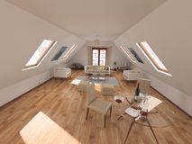 Sitting room in attic Stock Photo