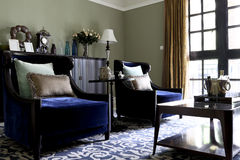 The sitting room of blue Stock Image
