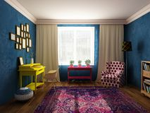Sitting room and cabinet in bright colors, vintage furniture and pop art style Royalty Free Stock Photo