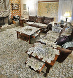 Sitting room filled with money Royalty Free Stock Image