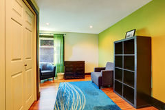 Sitting room interior in green and blue colors Stock Images