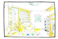 Sitting room sketch Royalty Free Stock Photos