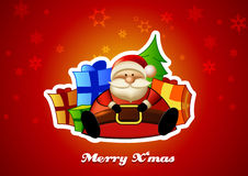 Sitting Santa with presents on red background. Stock Photography