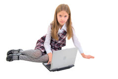 Sitting Schoolgirl And Notebook. Royalty Free Stock Photography