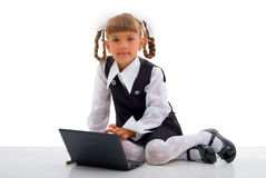 Sitting Schoolgirl And Notebook. Stock Images