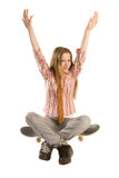 Sitting on skateboard Royalty Free Stock Images