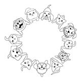 Sitting small dogs and cats looking up circle. Line art royalty free illustration