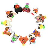 Sitting small dogs and cats with party hats looking up circle. Sitting small dogs and cats with party hats looking up in circle stock illustration