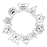 Sitting small dogs looking up in circle. Monochrome line art Royalty Free Stock Photography