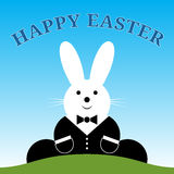 Sitting smiling Easter bunny with suit and text Royalty Free Stock Images