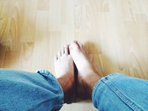 Sitting. My foots Stock Photos