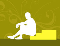 Sitting on the stairs. A rasterized image of a guy sitting on the stairs Stock Photos