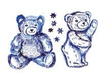 Sitting  & standing couple bears pattern Royalty Free Stock Image