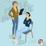 Sitting and standing  ladies communicating in office. Royalty Free Stock Photography