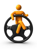 Sitting on Steering wheel Royalty Free Stock Images