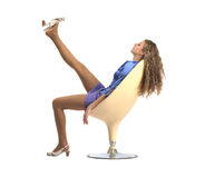 Sitting on stool girl Stock Photo