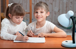 Children drawing on paper Stock Image