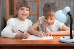 Children drawing on paper Royalty Free Stock Images