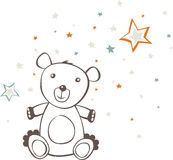Sitting Teddy Bear Stars Stock Photo
