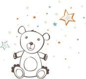 Sitting Teddy Bear Stars Stock Photo